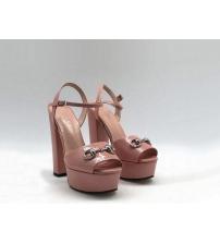 Босоножки женские Gucci (Гуччи) Leila летние кожаные на высоком каблуке Pink