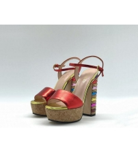 Босоножки женские Gucci (Гуччи) Leila летние кожаные на высоком каблуке Red/Gold