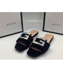 Женские шлепки Gucci (Гуччи) летние Бархат со стразами Black