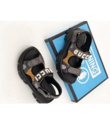 Женские сандалии Gucci (Гуччи) летние кожаные на липучке на толстой подошве Black/Gray