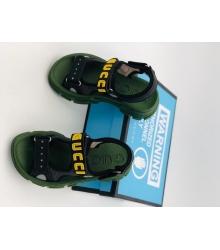 Женские сандалии Gucci (Гуччи) летние кожаные на липучке на толстой подошве Black/Green
