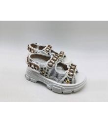 Женские сандалии Gucci (Гуччи) летние кожаные на липучке с кристаллами звездами White