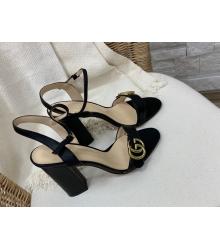 Босоножки женские Gucci (Гуччи) летние кожаные на высоком каблуке Black