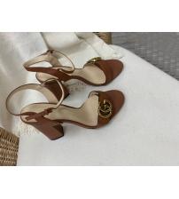 Босоножки женские Gucci (Гуччи) летние кожаные на высоком каблуке Blrown