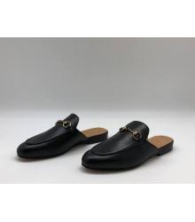 Женские мюли Gucci (Гуччи) летние кожаные с открытой пяткой Black