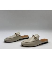 Женские мюли Gucci (Гуччи) летние кожаные с открытой пяткой Gray