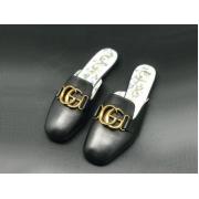 Женские мюли Gucci (Гуччи) летние кожаные с открытой пяткой лого Black