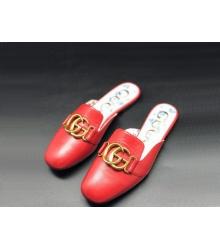 Женские мюли Gucci (Гуччи) летние кожаные с открытой пяткой лого Red