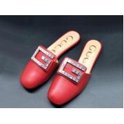 Женские мюли Gucci (Гуччи) летние кожаные с открытой пяткой лого стразами Red