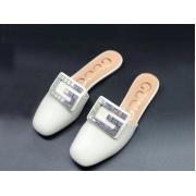 Женские мюли Gucci (Гуччи) летние кожаные с открытой пяткой лого стразами White