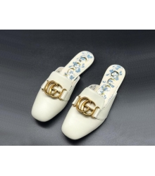 Женские мюли Gucci (Гуччи) летние кожаные с открытой пяткой лого White