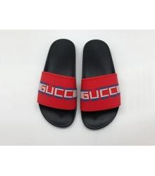 Шлепанцы женские Gucci (Гуччи) летние резиновые Red/Black
