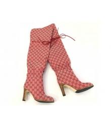 Ботфорты женские Gucci (Гуччи) Limited канва на высоком каблуке Red
