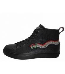Зимние кеды мужские Gucci (Гуччи) на меху со змеёй Black