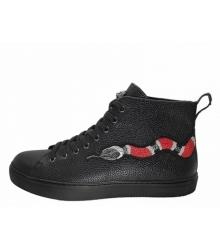 Кеды зимние мужские Gucci (Гуччи) на меху с вышита змея Black