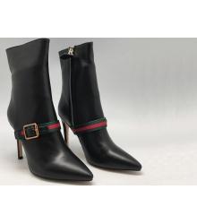 Женские полусапоги Gucci (Гуччи) на высоком каблуке Black