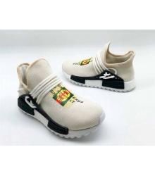 Женские кроссовки Gucci (Гуччи) NMD текстиль с принтом бренда без шнуровки Light Beige