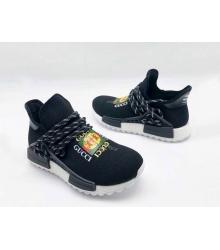 Женские кроссовки Gucci (Гуччи) NMD текстиль с принтом без шнуровки Black