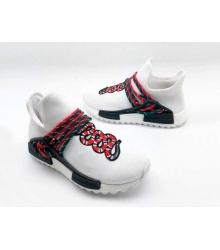 Женские кроссовки Gucci (Гуччи) NMD текстиль с принтом змея без шнуровки White