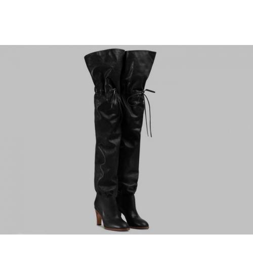 Ботфорты женские Gucci (Гуччи) Original GG кожаные на высоком каблуке Black