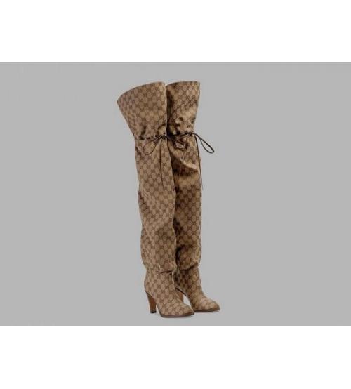 Ботфорты женские Gucci (Гуччи) Original канва на высоком каблуке Beige