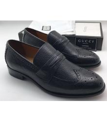 Лоферы мужские Gucci (Гуччи) осенние кожаные Black