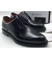 Мужские туфли Gucci (Гуччи) осенние кожаные Black