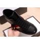 Кеды мужские Gucci (Гуччи) осенние кожаные на шнуровке Black