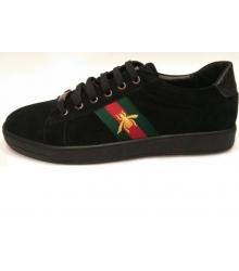 Кроссовки мужские Gucci (Гуччи) осенние замшевые Black