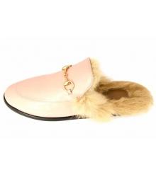 Лоферы с мехом женские Gucci (Гуччи) Pink