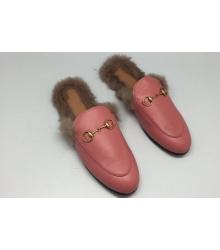 Слиперы с мехом женские Gucci (Гуччи) Pink