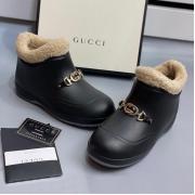 Ботинки женские Gucci (Гуччи) Pre-Fall Каучук подкладка на меху с деталью Horsebit Black