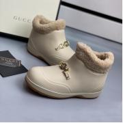 Ботинки женские Gucci (Гуччи) Pre-Fall Каучук подкладка на меху с деталью Horsebit Light Beige