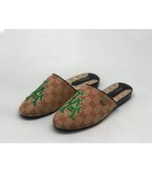 Женские мюли Gucci (Гуччи) Princetown летние текстиль с открытой пяткой Brown