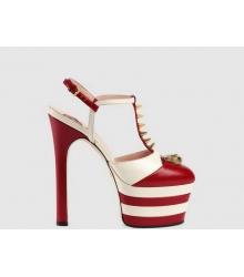 Босоножки женские Gucci (Гуччи) на платформе Red/White