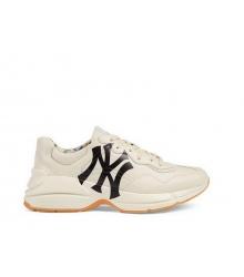 Кроссовки мужские Gucci (Гуччи) Rhyton Band кожаные с принтом NY Yankees White