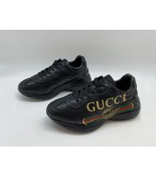 Кроссовки мужские Gucci (Гуччи) Rhyton кожаные принт с полосой логотипа Black