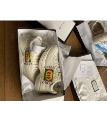 Кроссовки Gucci (Гуччи) Rhyton кожаные с логотипом White