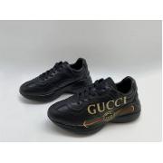 Женские кроссовки Gucci (Гуччи) Rhyton кожаные с полосой логотипа Black