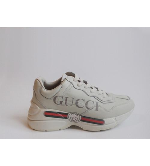 Кроссовки Gucci (Гуччи) Rhyton кожаные с полосой логотипа White