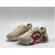 Женские кроссовки Gucci (Гуччи) Rhyton кожаные с принтом губы логотипом на шнурках White