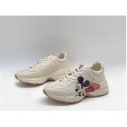 Женские кроссовки Gucci (Гуччи) Rhyton кожаные с принтом Mickey Mouse White
