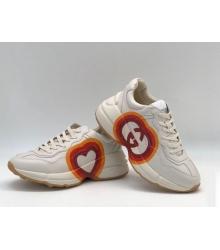 Кроссовки мужские Gucci (Гуччи) Rhyton кожаные с принтом сердце на шнурках White