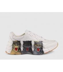 Кроссовки мужские Gucci (Гуччи) Rhyton кожаные с тиграми White