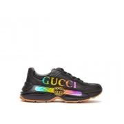 Женские кроссовки Gucci (Гуччи) Rhyton с принтом кожаные на шнурках Black