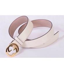 Ремень женский Gucci (Гуччи) с логотипом на пряжке White
