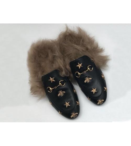 Женские зимние мюли Gucci (Гуччи) с мехом с пчелой и звездами Black