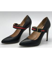Туфли женские Gucci (Гуччи) с ремешком Black