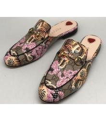 Женские лоферы Gucci (Гуччи) с тигром Brown/Pink