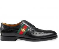 Мужские туфли Gucci (Гуччи) с вышитой пчелой Black